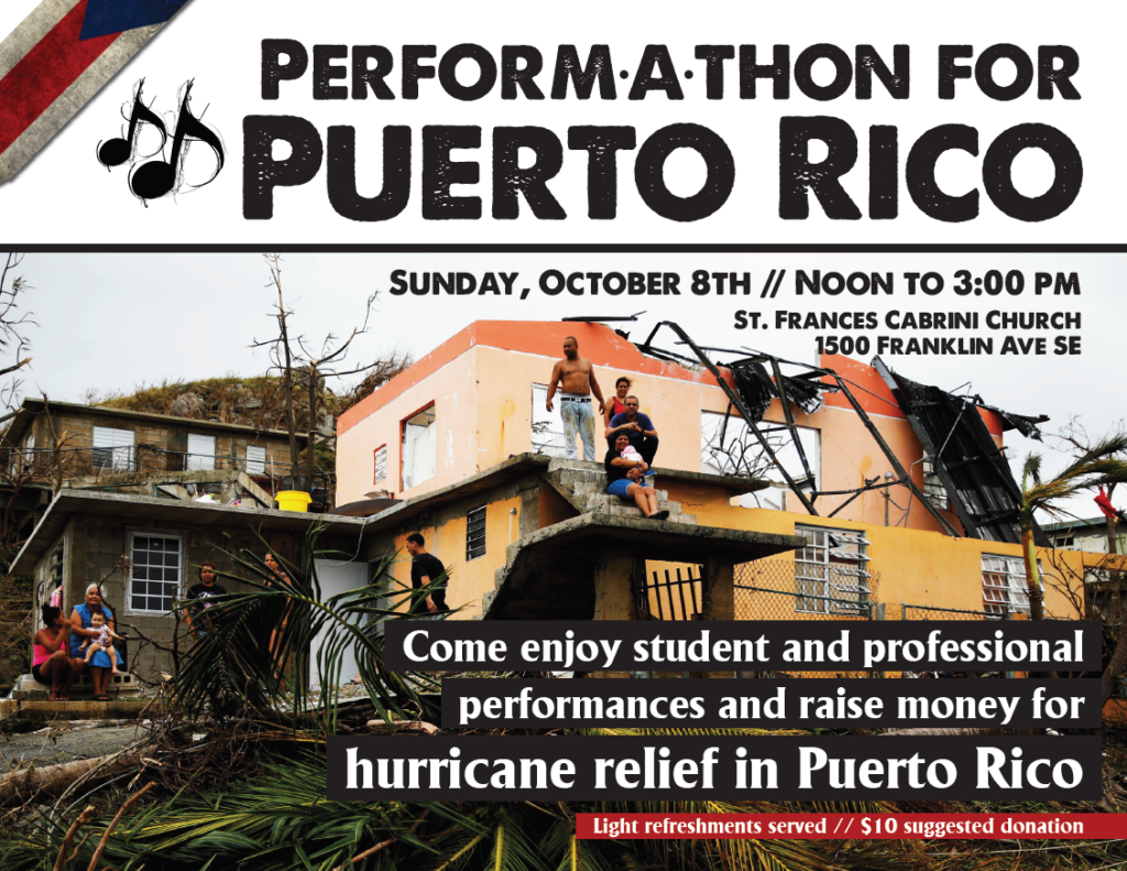Performathon Puerto Rico held beginning at noon on October 8 at Saint Francis Cabrini Church in Minneapolis